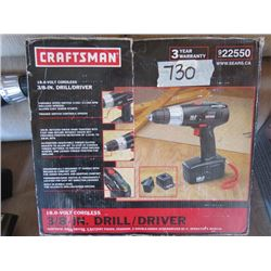 DRILL SET (CRAFTSMEN) *NOS* (18 VOLT) *CORDLESS* (2 X BATTERIES) *NO CHARGER CORD*