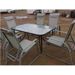 "SET OF PATIO FURNITURE (6 X CHAIRS) (GLASS TABLE 60"" X 2.5') *ALL CHAIRS MULTI-POSITIONAL*"