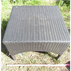 "BLACK WICKER TABLE (16""H X 23"" SQUARE)"