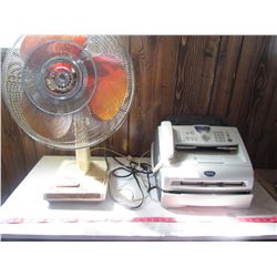 FAN AND FAX MACHINE (OSCILLATING, ADJUSTABLE, METAL) *BROTHER FAX MACHINE*
