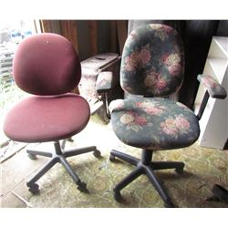 LOT OF 2 OFFICE CHAIRS (ADJUSTABLE) *ON WHEELS*