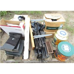 LOT OF MISC HOUSEWARES (3 X FOLDING CAMP CHAIRS, 2 X LARGE TINS, RAISED TOILET SEAT, 2 BOXES OF CHRI