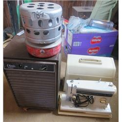 LOT OF ASSORTED ITEMS (COLEMAN HEATER, ELECTRIC CLASSIC FROSTGAURD HEATER, KENMORE SEWING MACHINE)