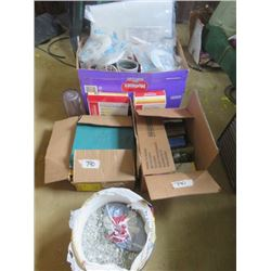 LOT OF HOUSEHOLD ITEMS (FILTERS, BOOKS, TRACTOR GUIDES, KIDS TOYS, WOOD WORK, GLASS ROCKS, ETC…)
