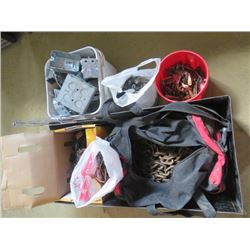 LOT OF ASSORTED ITEMS (CHAINS, DOOR KNOBS, HANDLES, HINGES, 12 V POWER BOX, TOOL BAG)