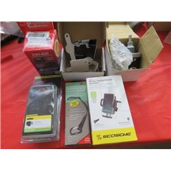 LOT OF MISC VEHICLE ITEMS (NEW) *CAR SAFETY TETHER, WIRELESS UNIVERSAL CHARGER VENT MOUNT, CUSTOM WI