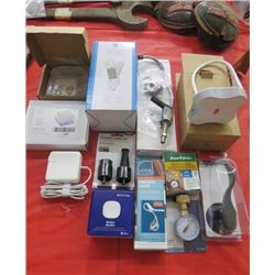 LOT OF MISC HOUSEWARES (DIGITAL SCALE, LED LAMP, SMALL IMMERSION HEATER, GAUGES, TAP, ETC)