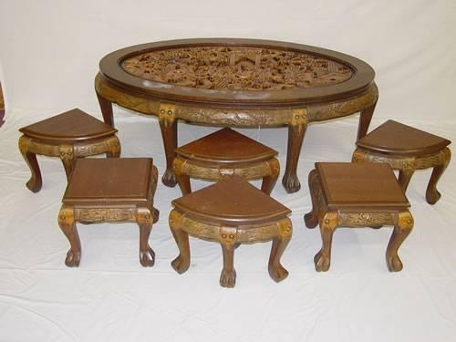 Image 1 Fancy Oriental Carved Mahogany Oval Coffee Table
