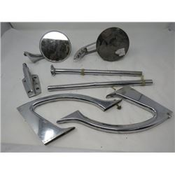 LOT OF ASSORTED CHROME MIRRORS AND MISC PIECES