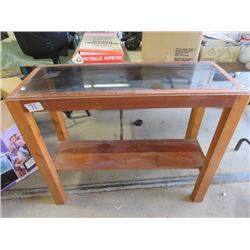 """SOFA TABLE (VINTAGE) *GLASS TOP* (38"""" LONG X 31.5"""" TALL X 14.5"""" WIDE)"""