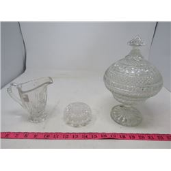 LOT OF 3 CRYSTAL PIECES (CANDY DISH WITH LID) *RING HOLDER WITH LID* (CREAM PITCHER)