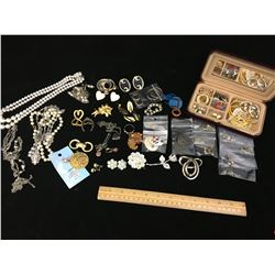 LOT OF ASSORTED ESTATE COSTUME JEWELERY (WITH BOX)