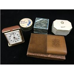LOT OF VINTAGE POWDER BOXES, TILLEY LEATHER CLUTCH PURSE AND ALARM CLOCK