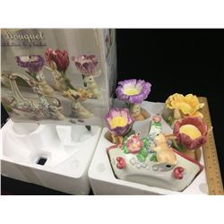 BUNNY BOUQUET CANDLE HOLDERS AND BASKET SET (WITH BOX)