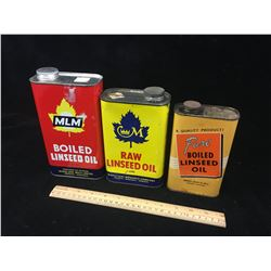 LOT OF ASSORTED LINSEED OIL TINS (VINTAGE)