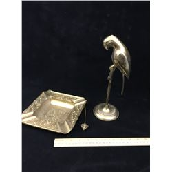 BRASS LOT (LARGE ASHTRAY, MOUSE AND PARROT)
