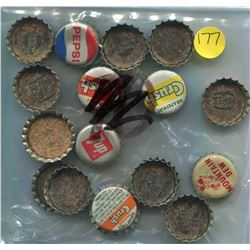 LOT OF CORK LINED BOTTLE CAPS (MOUNTAIN DEW, CRUSH, PEPSI) *VINTAGE*