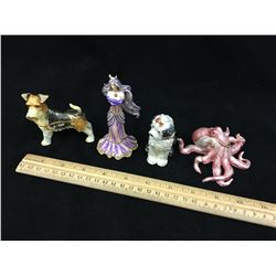 LOT OF TRINKET BOX FIGURINES (OCTOPUS, GIRL, DOGS)
