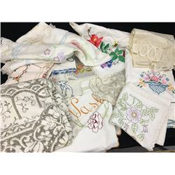 LOT OF MISC LINENS, TABLES CLOTHES (EMBROIDERY ETC... SOME STAINS)