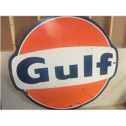 "GULF SERVICE STATION SIGN (DOUBLE SIDED PORCELAIN) *76.5"" x 71""*"
