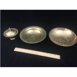 MISC VINTAGE BRASS LOT (BOWLS AND DISH)