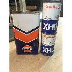 LOT OF GULF OIL CANS