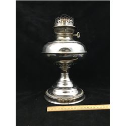 ANTIQUE RAYO NICKEL PLATED OIL LAMP