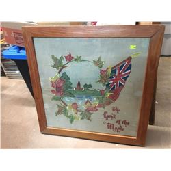 "ANTIQUE FRAMED EMBROIDERED PIECE (THE LAND OF THE MAPLE) *22.5"" x 22.5""*"
