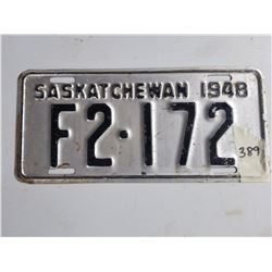 LICENCE PLATES (SASK) *1948* (EXCELLENT CONDITION)