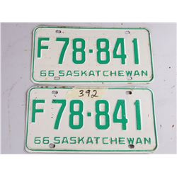 LICENCE PLATES (SASK) *1966* (MATCHING PAIR-EXCELLENT CONDITION)