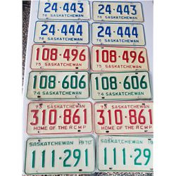 LICENCE PLATES (SASK) *1970, 73, 74, 75, 76, 76* (MATCHING NUMBERS)