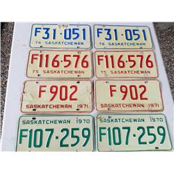LICENCE PLATES (SASK) *1970, 71, 75, 76* (MATCHING NUMBERS)