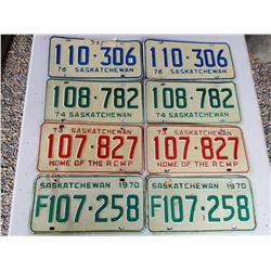LICENCE PLATES (SASK) *1970, 73, 74, 76* (MATCHING NUMBERS)
