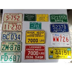 LOT OF 14 LICENCE PLATES (TRUCK, BIKE, TRAILER, MOTORCYCLE)