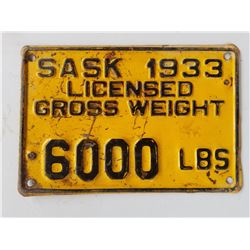 LICENCE PLATE (1933) *6 TON)