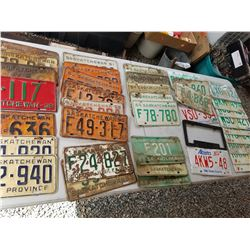 LOT OF 40 ASSORTED LICENCE PLATES (SASK) *1936-1980S*