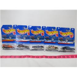 LOT OF 5 HOTWHEEL TOYS (BARRACUDA, CHEV NOMAD, 70 CHEVELLE, ETC…)