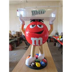 "LARGE M&M MASCOT WITH SERVING TRAY (VERY UNIQUE PROMOTIONAL ITEM) *40"" TALL, TRAY IS 24""X 15'* (BASE"