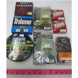 LOT OF MISC HUNTING ITEMS (2 X MOSQUITO HEAD NET) *2 X BERKLEY TRILINE* (GUN BORE CLEANER) *SPIDER W