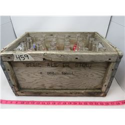 Wooden Crate Of Assorted Glass Bottles 24 Royal Crown Double Cola Mission Etc