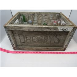 WOODEN CRATE OF ASSORTED GLASS BOTTLES (24) *OLD COLONY, DOUBLE COLA, NESBIT, ETC…*