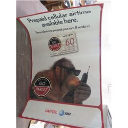 "CANTEL AT&T POSTER (PREPAID CELLULAR AIRTIME AVAILABLE HERE) *24"" WIDE X 36"" LONG*"