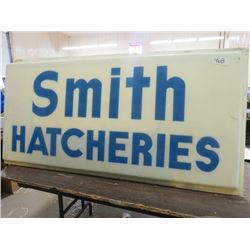 "SMITH HATCHERIES SIGN (61.5"" LONG X 30"" WIDE)"