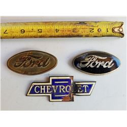VEHICLE EMBLEMS (2 X FORD OVAL AND 1 CHEV RADIATOR) *2 ARE PORCELAIN*