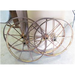 LOT OF 4 MATCHING 27 INCH PACKER WHEELS