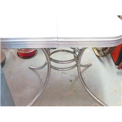 "GREY CHROME TABLE (HIDDEN LEAF-ROUND PEDISTAL) *41"" X 30""*"