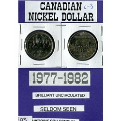 LOT OF 2 DOLLAR COINS (CANADA) *NICKLE* (1977-1982)