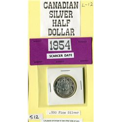 FIFTY CENT COIN (CANADA) *1954* (.800 FINE SILVER)