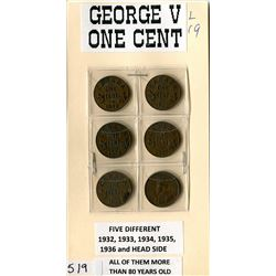 LOT OF 6 ONE CENT COINS (CANADA) *1932, 33, 34, 35, 36, 36) *GEORGE V*