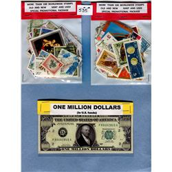 LOT OF TWO 100 STAMP PACKAGES AND NOVELTY PAUL REVERE 1 MILLION DOLLAR BILL